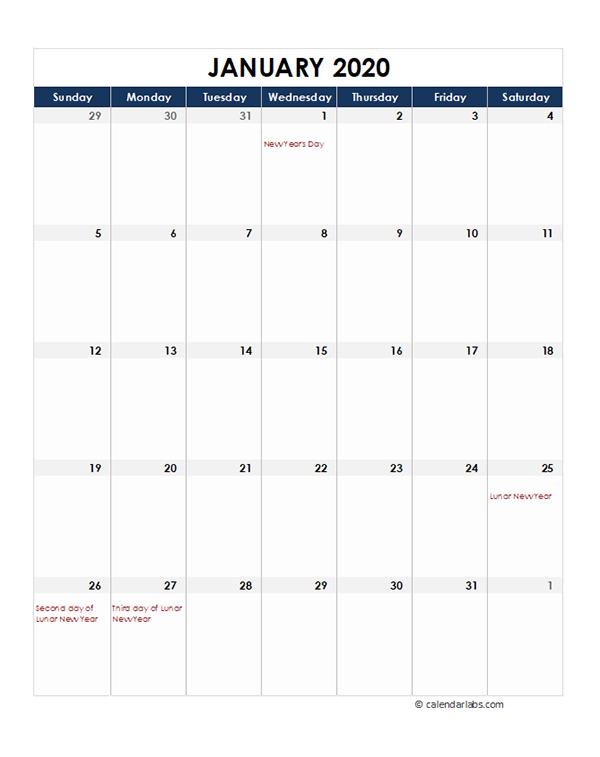 2020 Hong Kong Monthly Excel Calendar