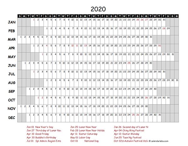 2020 Hong Kong Project Timeline Calendar