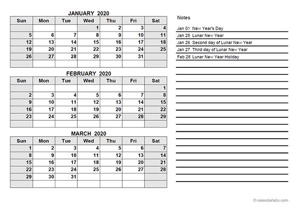 2020 Hong Kong Quarterly Calendar Template