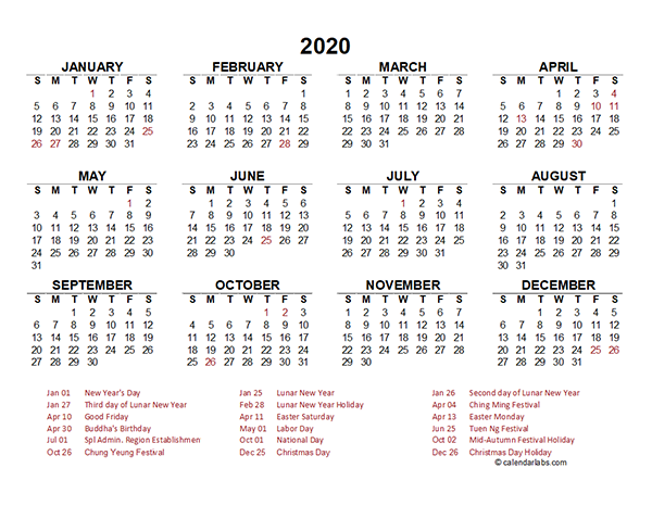 2020 hong kong yearly calendar template excel