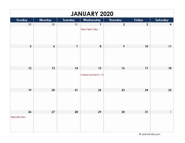 2020 India Calendar Spreadsheet Template