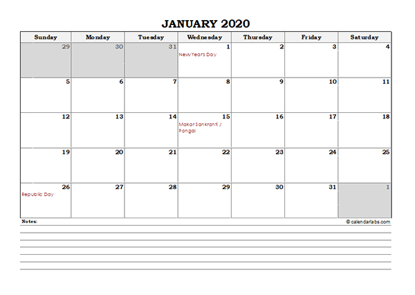 2020 India Monthly Calendar with Notes