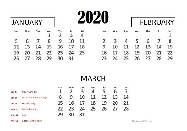 2020 India Excel Quarterly Calendar