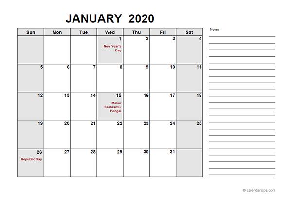 2020 India Free Calendar PDF Template