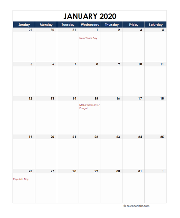 2020 India Monthly Excel Calendar