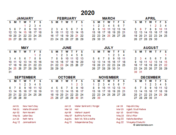 2020 India Yearly Calendar Template Excel