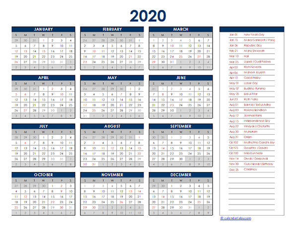 2020 India Yearly Excel Calendar