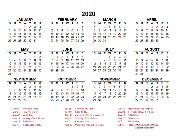 2020 Indonesia Yearly Calendar Template Excel