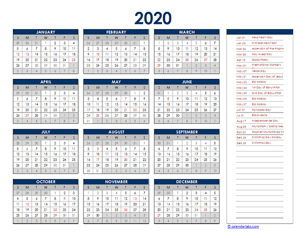 2020 Indonesia Yearly Excel Calendar