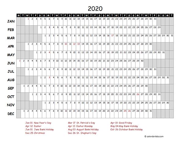2020 Ireland Project Timeline Calendar