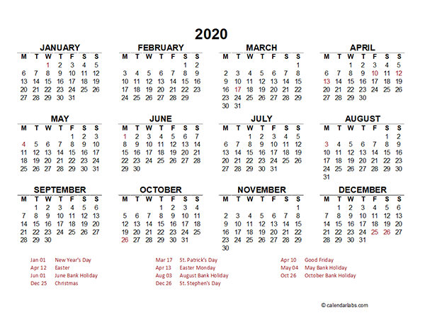 2020 Ireland Yearly Calendar Template Excel