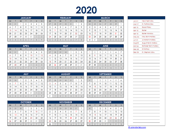 2020 Ireland Yearly Excel Calendar