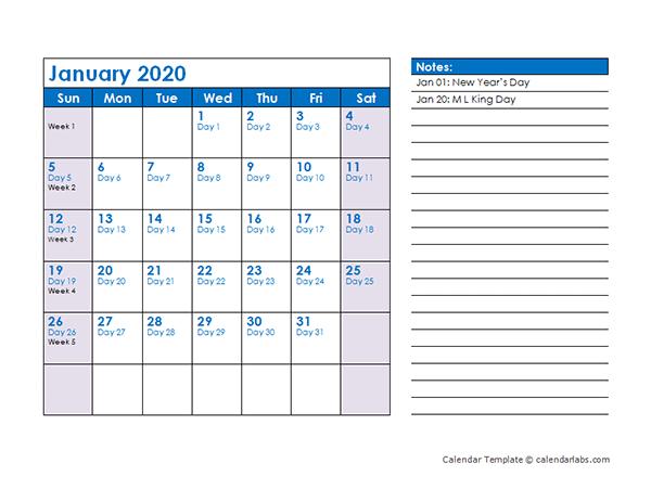 2020 Julian Date Calendar