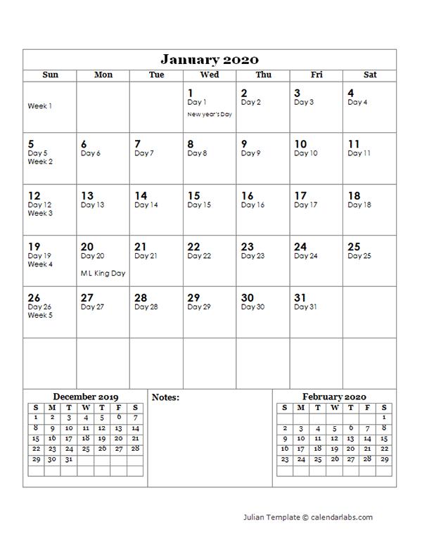 2020 Julian Day Calendar