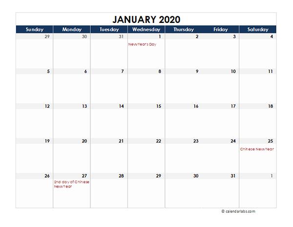 2020 Malaysia Calendar Spreadsheet Template