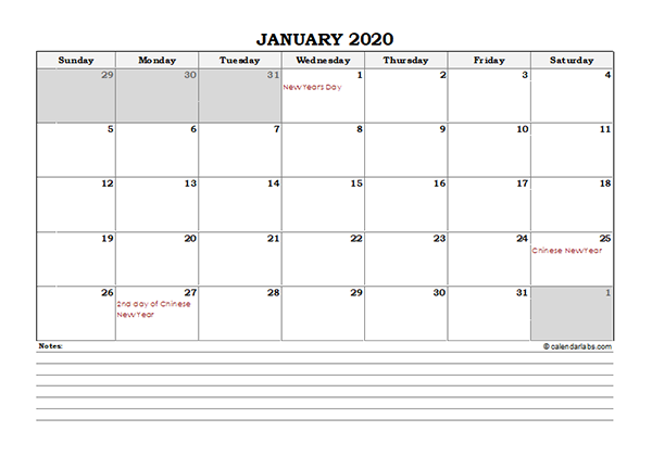 2020 Malaysia Monthly Calendar with Notes