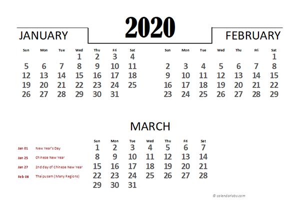 2020 Malaysia Excel Quarterly Calendar