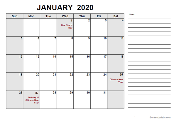 2020 Malaysia Free Calendar PDF Template