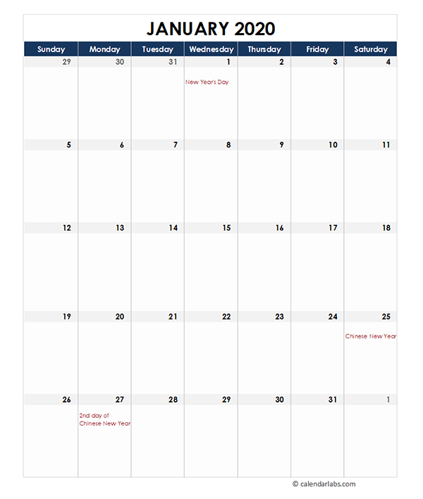 2020 Malaysia Monthly Excel Calendar