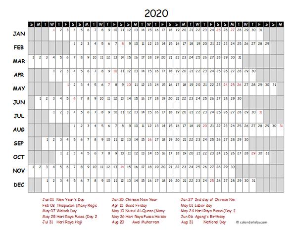 2020 Malaysia Project Timeline Calendar