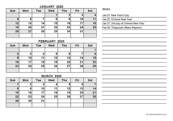 2020 Malaysia Quarterly Calendar Template