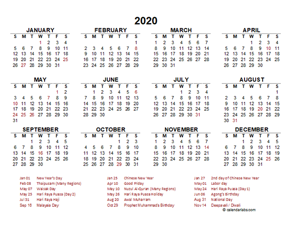2020 Malaysia Yearly Calendar Template Excel