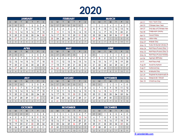 2020 Malaysia Yearly Excel Calendar