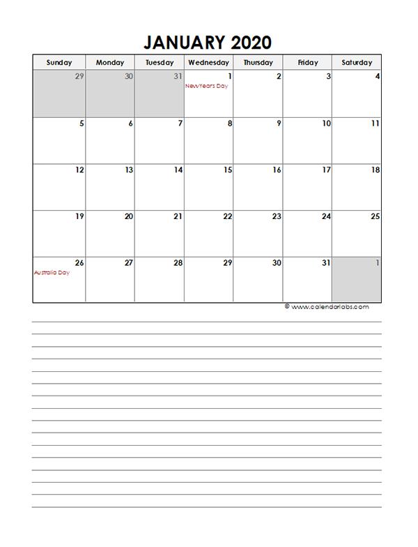 2020 Monthly Australia Calendar Template