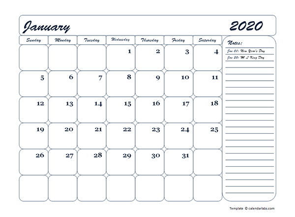 2020 monthly blank calendar template