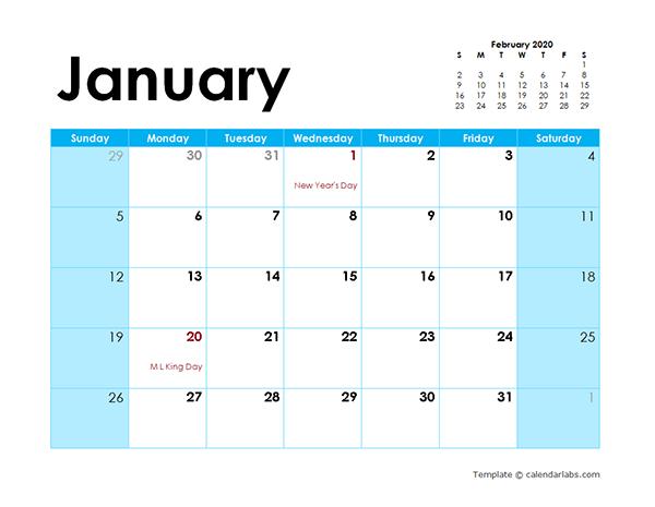 2020 Word Calendar Colorful Design