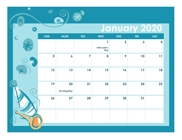 2020 Calendar Template in Colorful Design