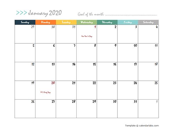 2020 Monthly Word Calendar Design