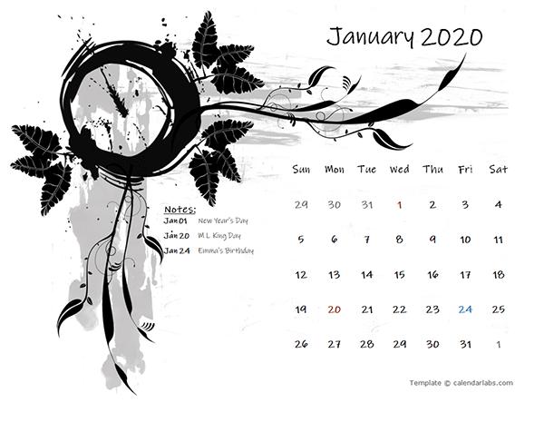 2020 Monthly Calendar Design Template