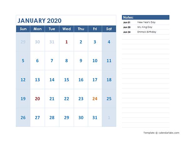 2020 Monthly Calendar Template Landscape