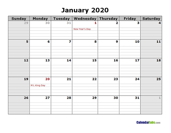 2020 monthly calendar with daily notes