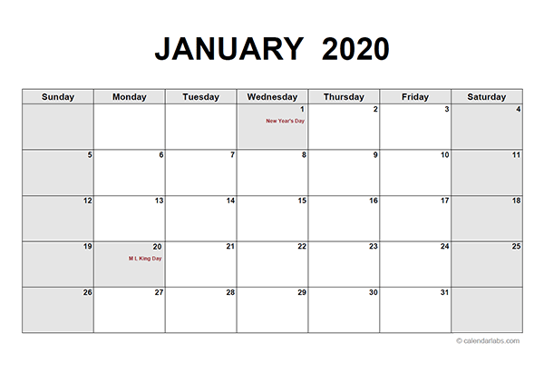 2020 Monthly Calendar PDF