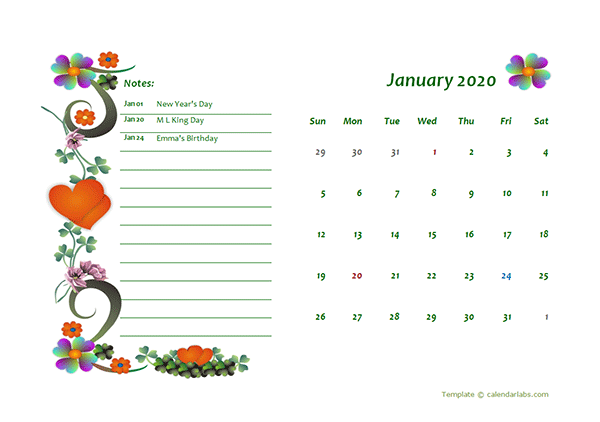 2020 Monthly Calendar Template Design