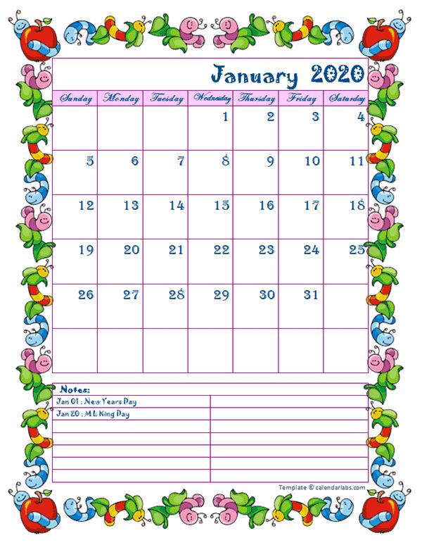 2020 Monthly Kid Kindergarten Calendar Template