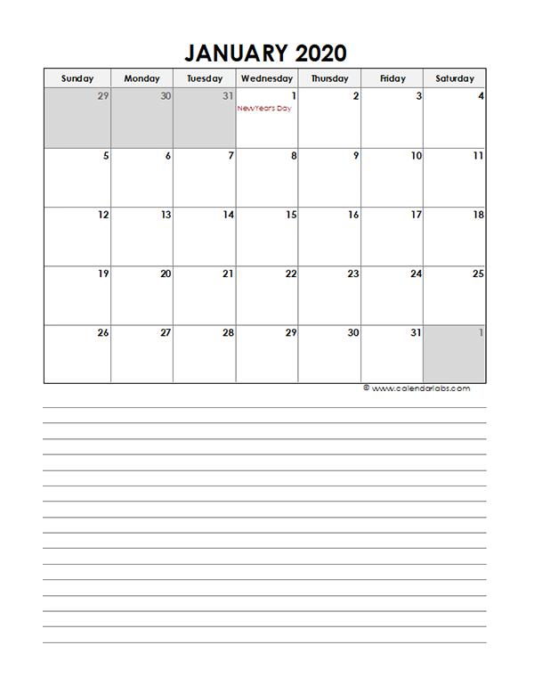 2020 Monthly Canada Calendar Template