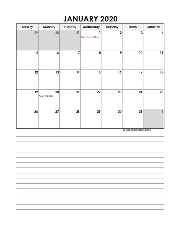 2020 Monthly Excel Template Calendar