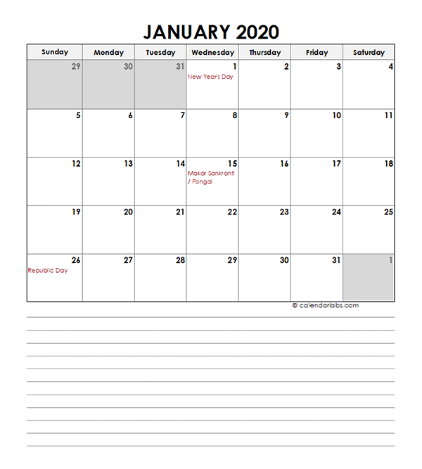 2020 Monthly India Calendar Template