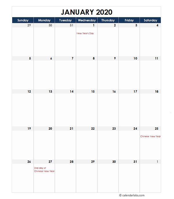 2020 Monthly Malaysia Calendar Template