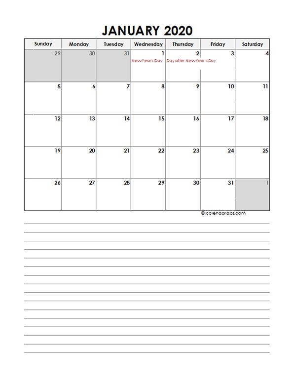 2020 Monthly New Zealand Calendar Template
