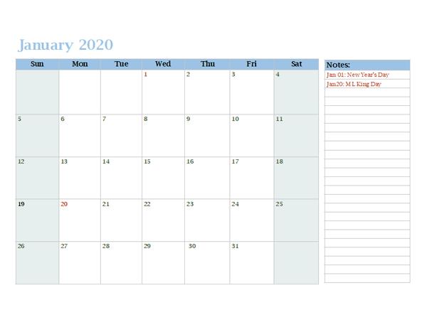 2020 Monthly OneNote Calendar