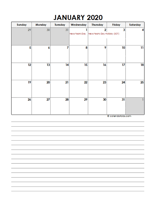2020 Monthly Singapore Calendar Template