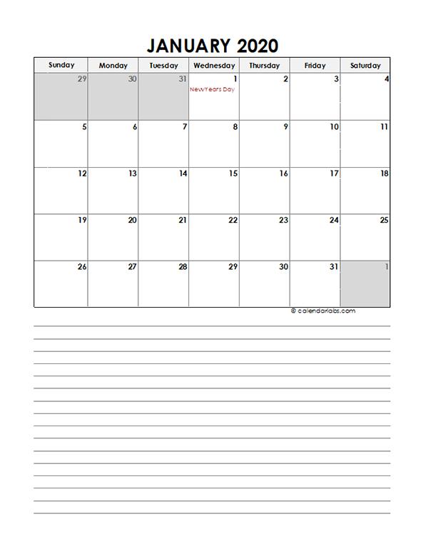 2020 Monthly UAE Calendar Template
