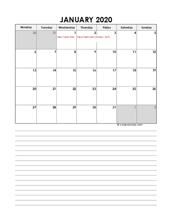 2020 Monthly UK Calendar Template