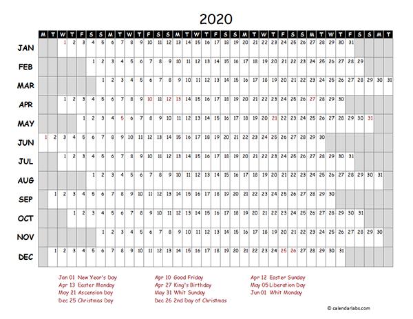 2020 Netherlands Project Timeline Calendar