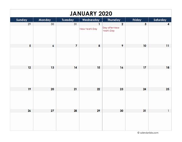 2020 New Zealand Calendar Spreadsheet Template