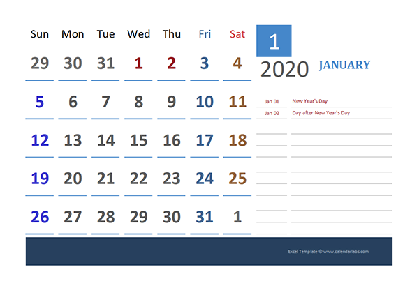 2020 New Zealand Calendar for Vacation Tracking